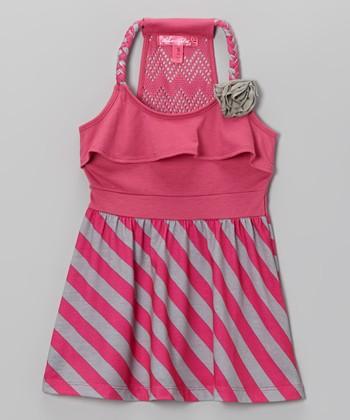 Fab Fuchsia Stripe Y-Back Dress - Toddler & Girls