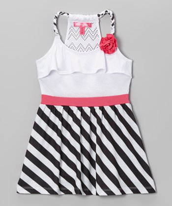 White & Black Stripe Y-Back Dress - Toddler & Girls