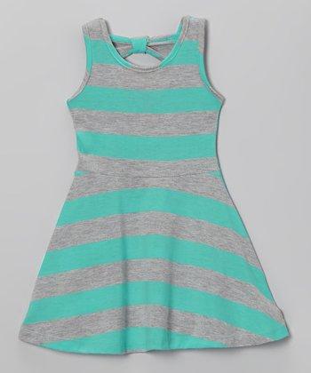 Powder Teal Stripe A-Line Dress - Infant, Toddler & Girls