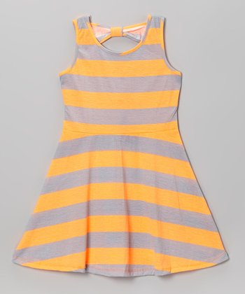 Hot Orange Stripe A-Line Dress - Infant, Toddler & Girls