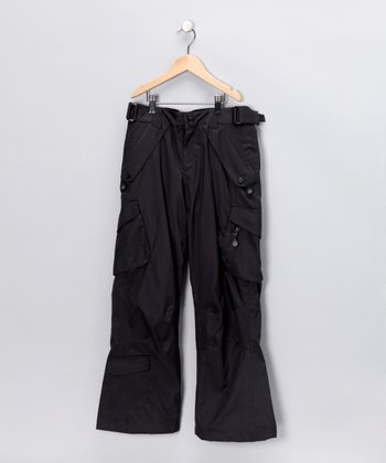 Black Deluxe Cargo Snow Pants - Boys