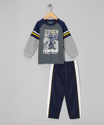 Gray 'Touchdown' Layered Tee & Pants - Infant