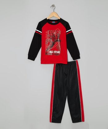 Red 'Football' Layered Tee & Pants - Infant