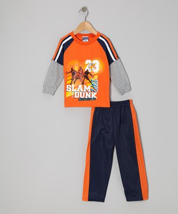 Orange 'Slam Dunk' Layered Tee & Pants - Infant