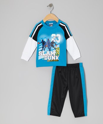 Royal 'Slam Dunk' Layered Tee & Pants - Infant