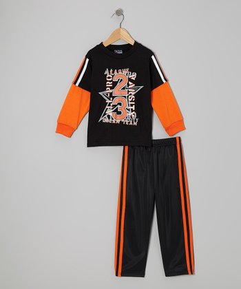 Black 'Dream Team' Layered Tee & Pants - Infant