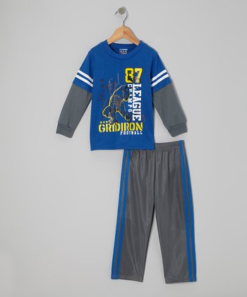 Blue 'Gridiron' Layered Tee & Pants - Infant