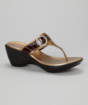 Athena Alexander Bronze Casta Wedge Sandal