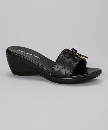 Athena Alexander Black Color Quilted Slide