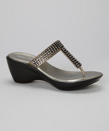 Athena Alexander Pewter Rush Embellished T-Strap Sandal