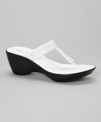 Athena Alexander White Rush Embellished T-Strap Sandal