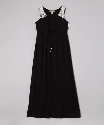 Speechless Black & White Crocheted Trim Maxi Dress