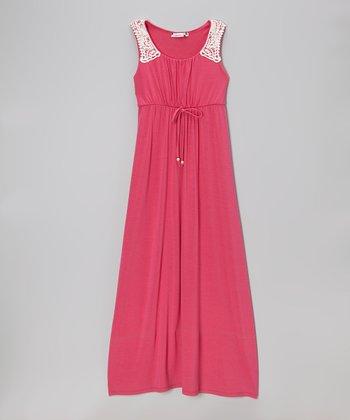 Speechless Fuchsia & White Crocheted Trim Maxi Dress