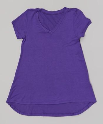 Purple V-Neck Swing Tee