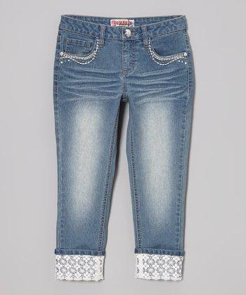 Medium Wash Crocheted-Cuff Capri Jeans
