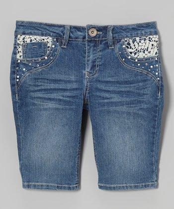 Medium Wash Lace-Accent Bermuda Shorts