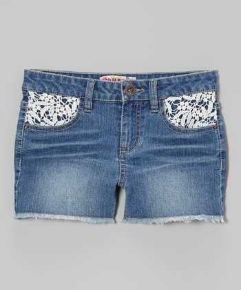 Medium Wash Crocheted-Pocket Cutoff Shorts