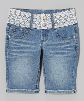Medium Wash Crocheted-Waist Bermuda Shorts