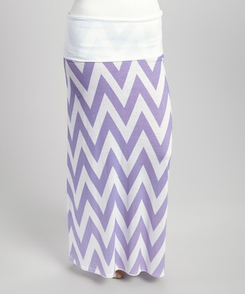 Lilac & White Zigzag Sublimation Maxi Skirt - Plus