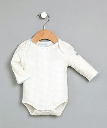 White & Blue Polka Dot Bodysuit - Infant