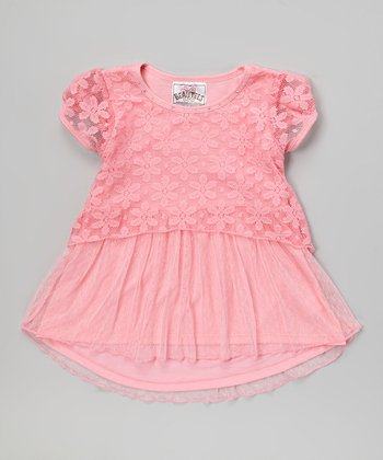 Candy Pink Daisy Lace Layered Top