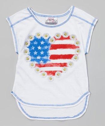 White American Daisy Heart Sleeveless Tee