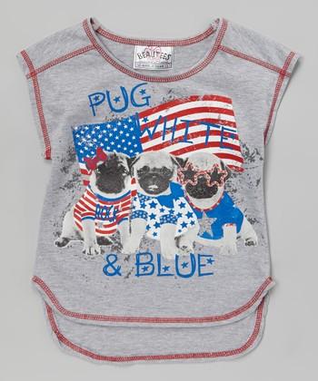 Gray 'Pug, White & Blue' Sleeveless Tee