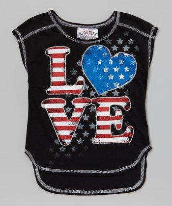 Black 'Love' American Flag Sleeveless Tee