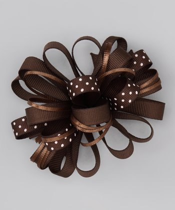Brown Loopy Polka Dot Bow Clip