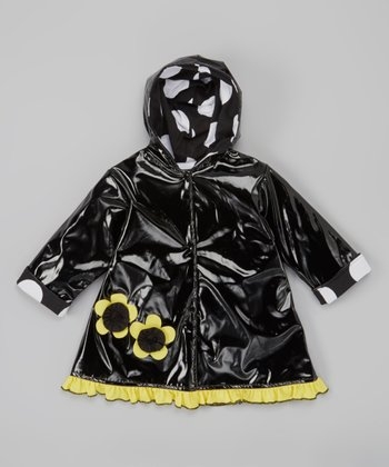 Black & Yellow Flower Raincoat - Infant, Toddler & Girls