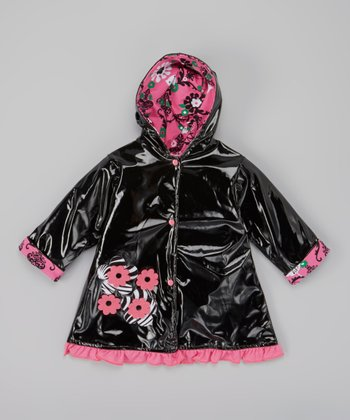 Black & Brite Pink Flower Raincoat - Infant, Toddler & Girls