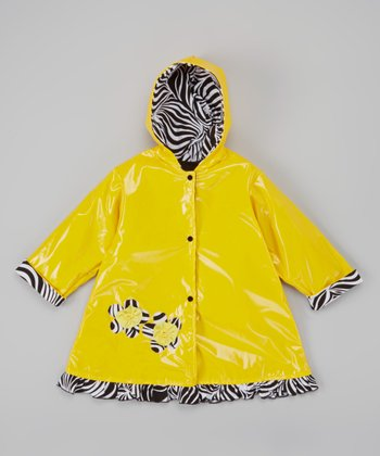 Yellow & Black Zebra Flower Raincoat - Infant, Toddler & Girls
