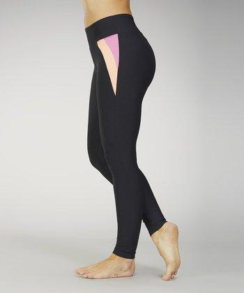Marika Black & Pink Flamingo Flat-Waist Leggings