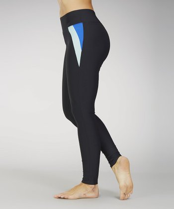 Marika Black & Shocking Blue Flat-Waist Leggings