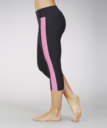Marika Black & Pink Flamingo Stripe Capri Leggings