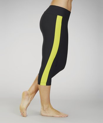 Marika Black & Yellow Spring Stripe Capri Leggings