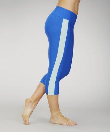 Marika Black & Shocking Blue Stripe Capri Leggings