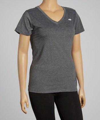 Heather Tile Blue Dry-Wik V-Neck Short-Sleeve Tee - Plus