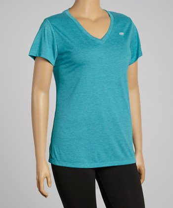 Heather Charcoal Dry-Wik V-Neck Short-Sleeve Tee - Plus