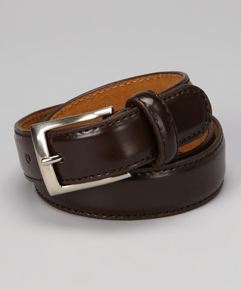 Brown Square Buckle Leather Belt