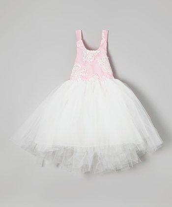 Pink & White Beaded Tutu Dress - Toddler & Girls
