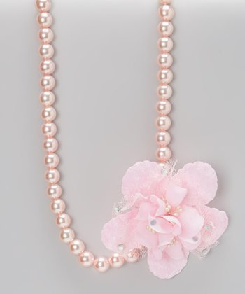 Pink Pearl Floral Necklace
