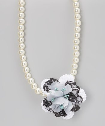 White Pearl Floral Necklace