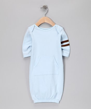 Blue & Mocha Stripe Gown - Infant