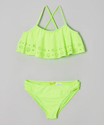 Angel Beach Lime Green Daisy Bikini - Girls