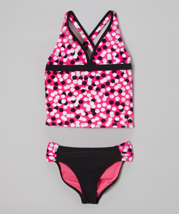 Angel Beach Pink Gumballs Tankini - Girls