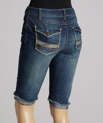 BACCINI Medium Blue Flap Pocket Denim Bermuda Shorts