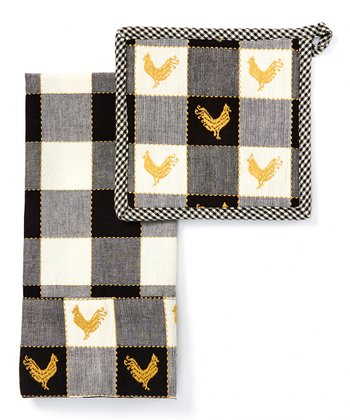 Black & White Devon Dish Towel & Pot Holder