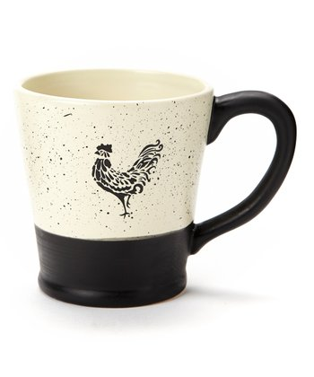 Black & White Devon Rooster Mug - Set of Four