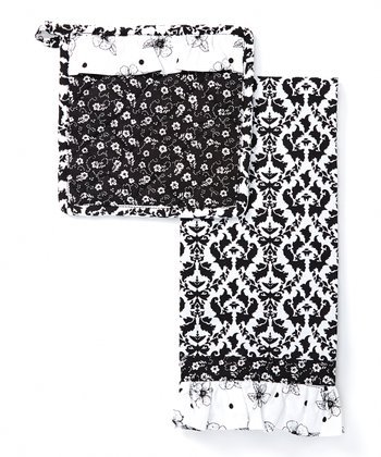 Black & White Dish Towel & Pot Holder